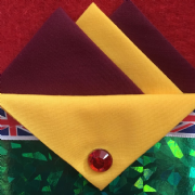 Burgundy and Yellow Hankie With Yellow Flap and Pin